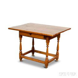 William and Mary Maple and Pine One-drawer Tavern Table