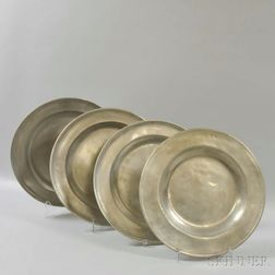 Four Large Pewter Chargers
