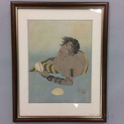Paul Jacoulet (1902-1960) Woodblock Print, Femme Tatouee de Falalap, Ouest Carolines