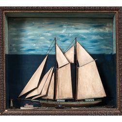 Small Sailboat Shadow Box Diorama