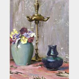 Mary Brewster Hazelton (American, 1868-1953)  Still Life - Flowers and Lamp