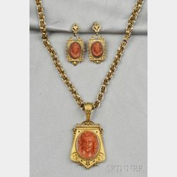 Antique Gold and Coral Cameo Pendant and Earrings