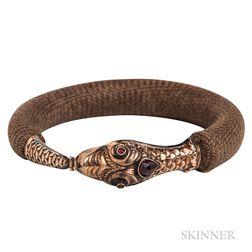 Victorian Gold and Garnet Snake and Hairwork Bracelet