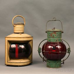 Two Painted Navigation Lanterns