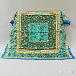"Hermes ""Chasse en Inde"" Turquoise Silk Scarf"