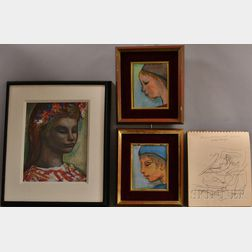 Josef Presser (American, 1907-1967)      Three Framed Portrait Heads: Profile of a Girl, Profile of a Boy
