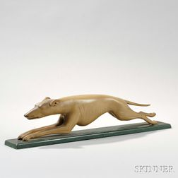 Carved and Painted Greyhound Figure