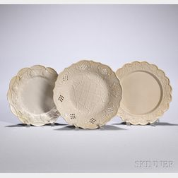 Three White Salt-glazed Stoneware Dishes