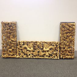 Three Giltwood Carved Chinese Architectural Panels