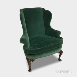 Queen Anne-style Carved and Upholstered Mahogany Wing Chair