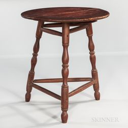 Red-painted Pine and Maple Turned-leg Table