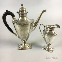 Gorham Sterling Silver Coffeepot and Creamer