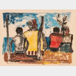 South American School, 20th Century      Scene with Four Figures