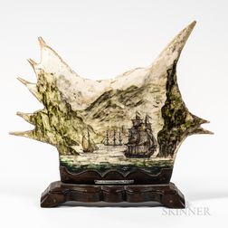 Shaped and Painted Bone Plaque with a Maritime Scene