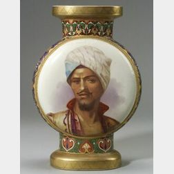 French Porcelain Egyptian Revival Portrait and Scenic Vase