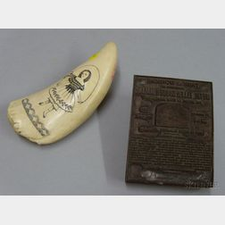 Scrimshaw Decorated Whale's Tooth and a Norwegian Marine Paint Advertising Copper   and Wood Printing Block