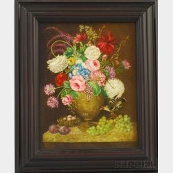 Attributed to B.R. Bibo (American, 20th/21st Century)      Floral Still Life with Ceramic Urn, Butterflies, and Tanager.