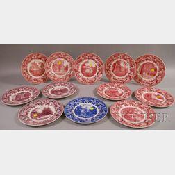Set of Twelve Wedgwood Denison University Ceramic Plates