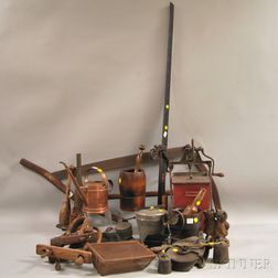 Twenty-seven Assorted Metal and Wood Domestic and Vocational Items