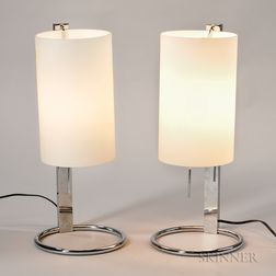 Pair of Chrome and Glass Table Lamps