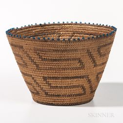 Southwest Polychrome Basket with Beads