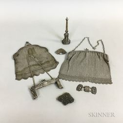 Two Silver Mesh Purses and Three Pieces of Silver Filigree
