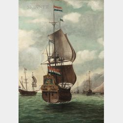 Dutch School, 17th Century Style      Dutch Ship Approaching a Mountainous Coast
