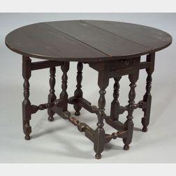William & Mary Diminutive Painted Maple Gate-leg Table