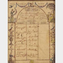 Attributed to Richard Brunton (American, active c. 1800-1832)    Coffin Family Register