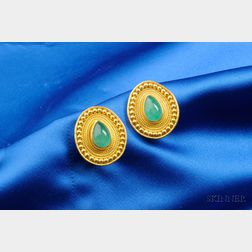 22kt Gold and Emerald Earclips, Tracy Dara Kamenstein
