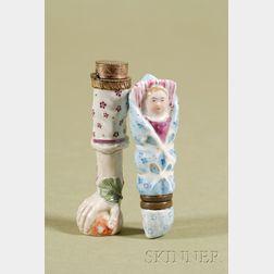 Two Continental Enameled and Parcel-gilt Porcelain Scent Bottles