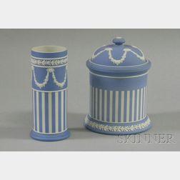 Wedgwood Light Blue Jasper Dip Spill Vase and Jar with Cover