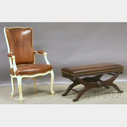 Louis XV-style Brown Leather Upholstered Tall-back White-painted Carved Wood Fauteuil and a Georgian-style Leather Upholstered Mahog...