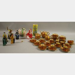 Thirty-five-piece Japanese Satsuma Pottery Partial Tea and Coffee Set, Six Asian Ceramic Figures and Vases, and a Royal Doulton Porc...