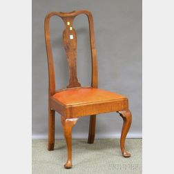 Queen Anne Maple Side Chair with Leather-upholstered Slip Seat