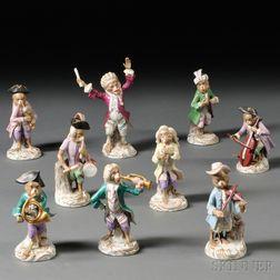Nine Members of a Porcelain Monkey Band