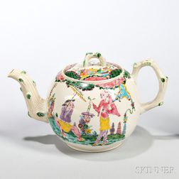 White Salt-glazed Stoneware Polychrome Enamel-decorated Teapot and Cover