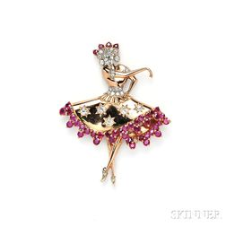 14kt Rose Gold, Ruby, and Diamond Ballerina Brooch