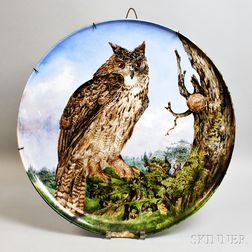 Creil Montereau B & Cie Faience Owl-decorated Ceramic Charger