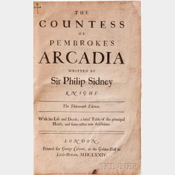 Sidney, Sir Philip (1554-1586) The Countess of Pembroke's Arcadia.