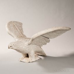 Carved and White-painted Pilot House Eagle