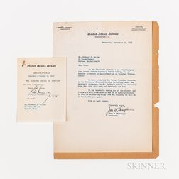 Kennedy, John F. (1917-1963) Signed Memorandum and Associated Correspondence, 1953.