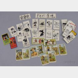Fifty-three Sweet Caporal Cigarettes Cartoon Series and Eight Pascalls Scouting Series Cards.