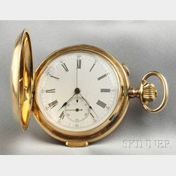 Antique 14kt Gold Hunting Case Minute-repeating Chronograph Pocket Watch, Invicta