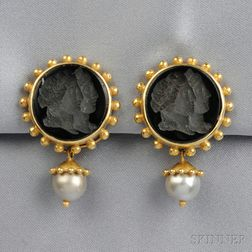 18kt Gold, Glass Intaglio, and Cultured Pearl Day/Night Earclips, Elizabeth Locke