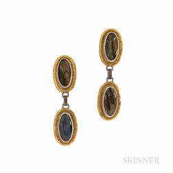 """Gurhan 24kt Gold, Sterling Silver, and Labradorite """"Galapagos"""" Earrings"""