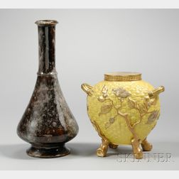 Royal Worcester Porcelain Drip Glazed Footed Bottle-form Vase and Gilt Decorated   Yellow Ground Footed Vase