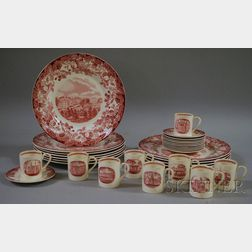 Set of Eleven Wedgwood Red and White Harvard University Ceramic Dinner Plates and a Set of Nine Demitasse Cups and Eleven Saucers.