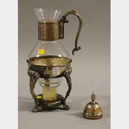 Silver-plated Glass Coffee Carafe on Warming Stand
