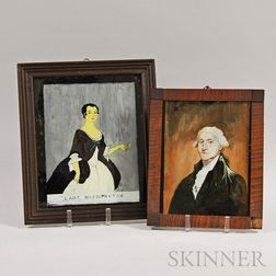 Two Framed Reverse-painted Portraits of George and Martha Washington